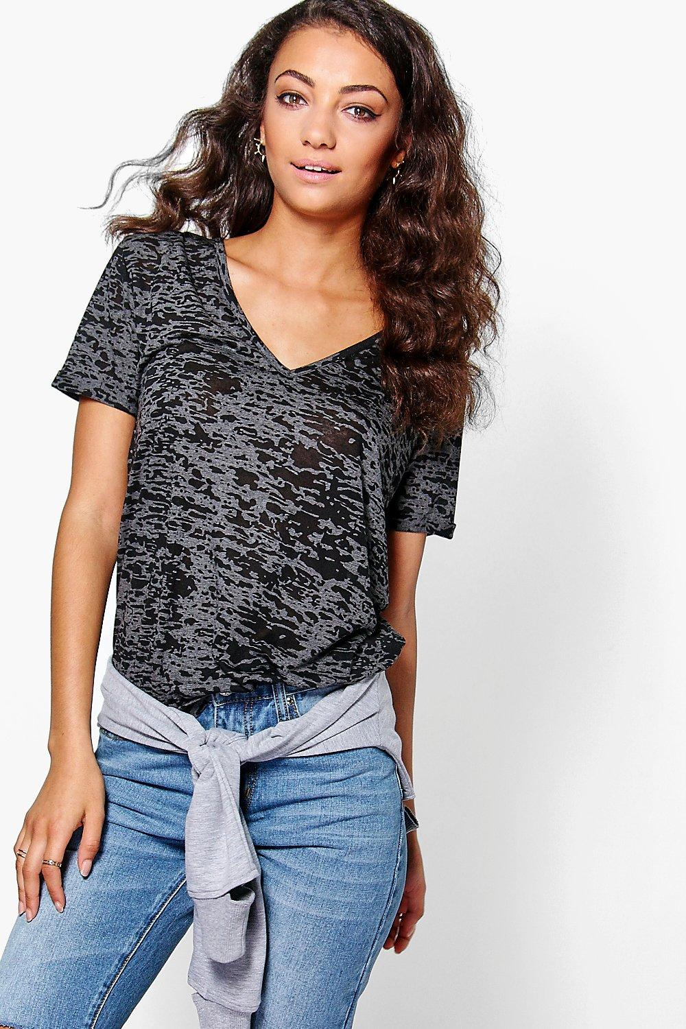 Tall Miri Slub Burnout Oversized V Neck Tee