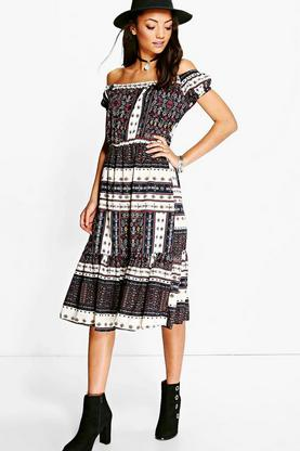 Tall Naiah Slinky Off The Shoulder Printed Dress
