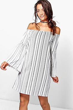 Tall Taniya Stripe Off The Shoulder Dress