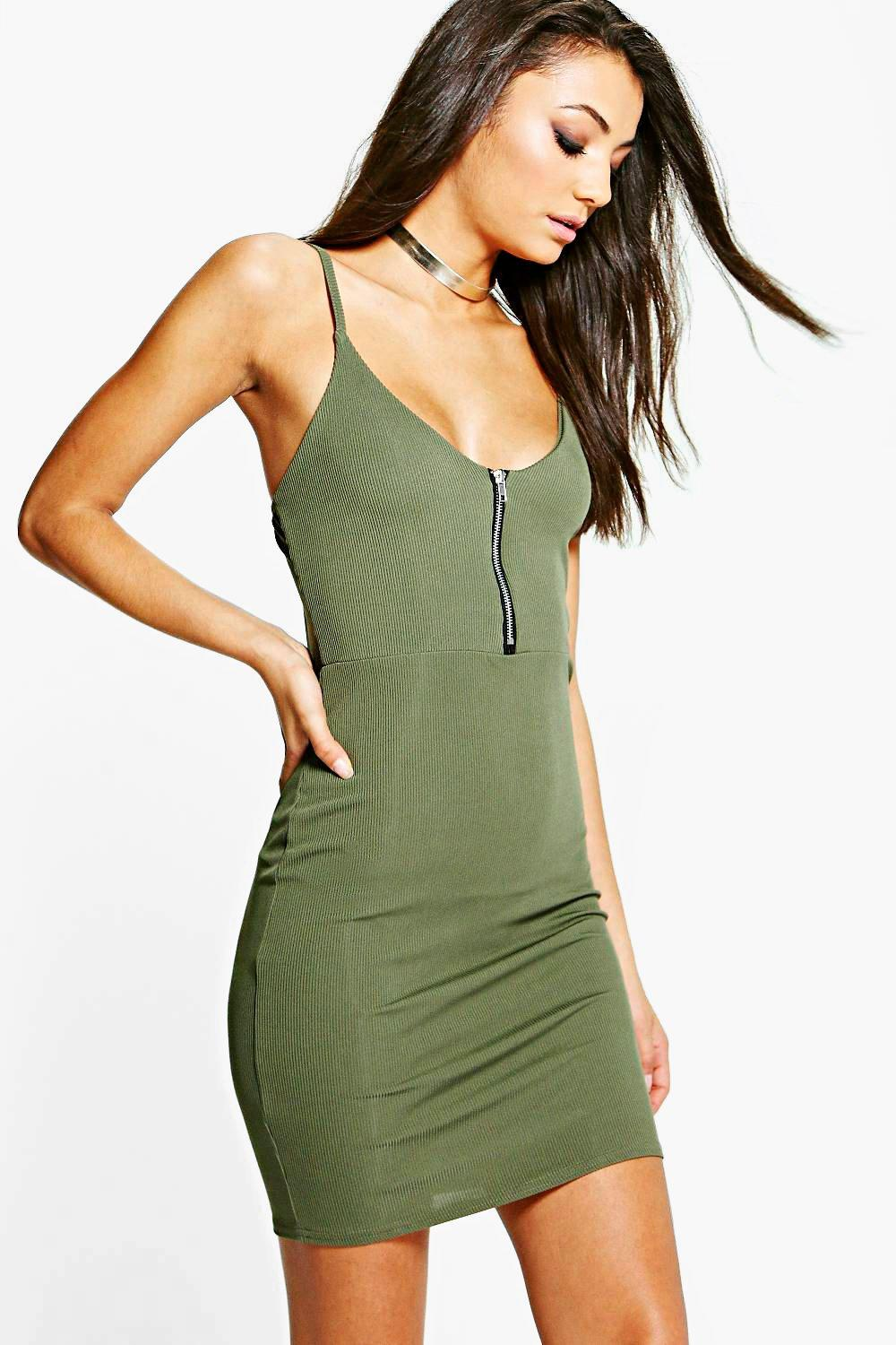 Tall Samia Rib Zip Front Strappy Mini Dress