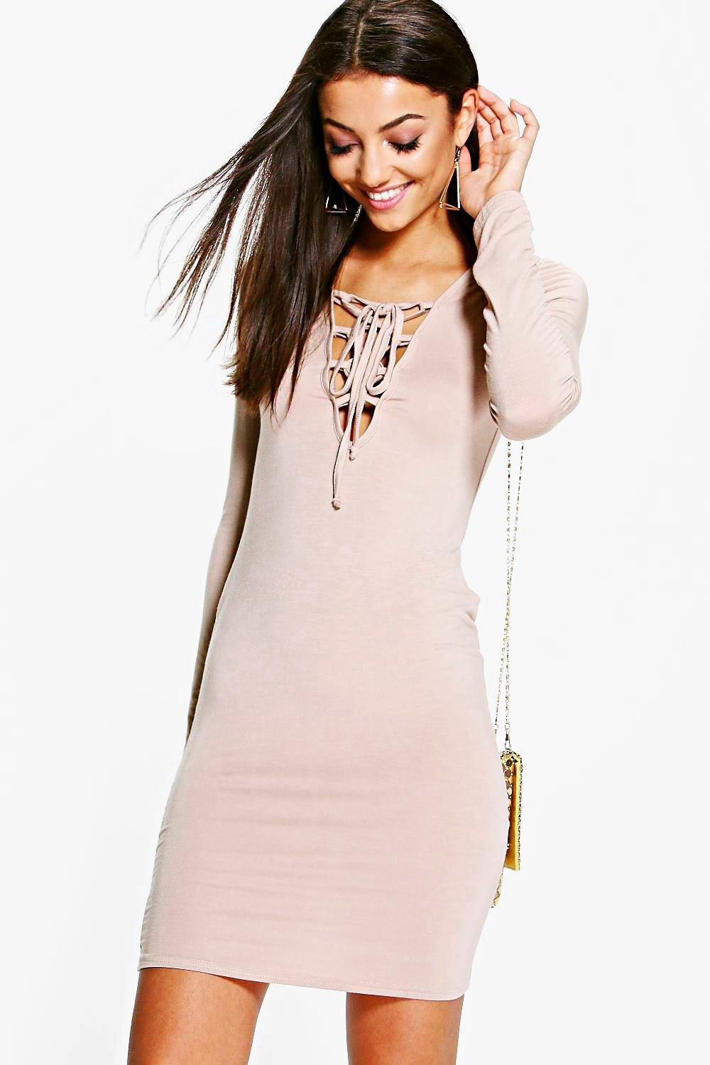 Tall Seline Lace Up Detail Bodycon Mini Dress