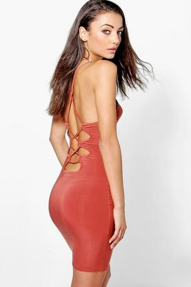 Tall Aarya Slinky Lace Up Back Bodycon Dress