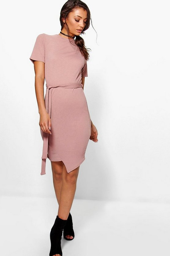 Tall Sabria Textured Belted Mini Dress