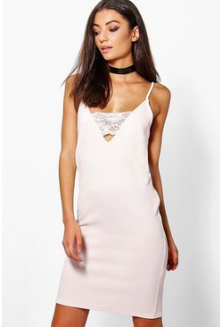 Tall Searra Textured Lace Plunge Bodycon Dress