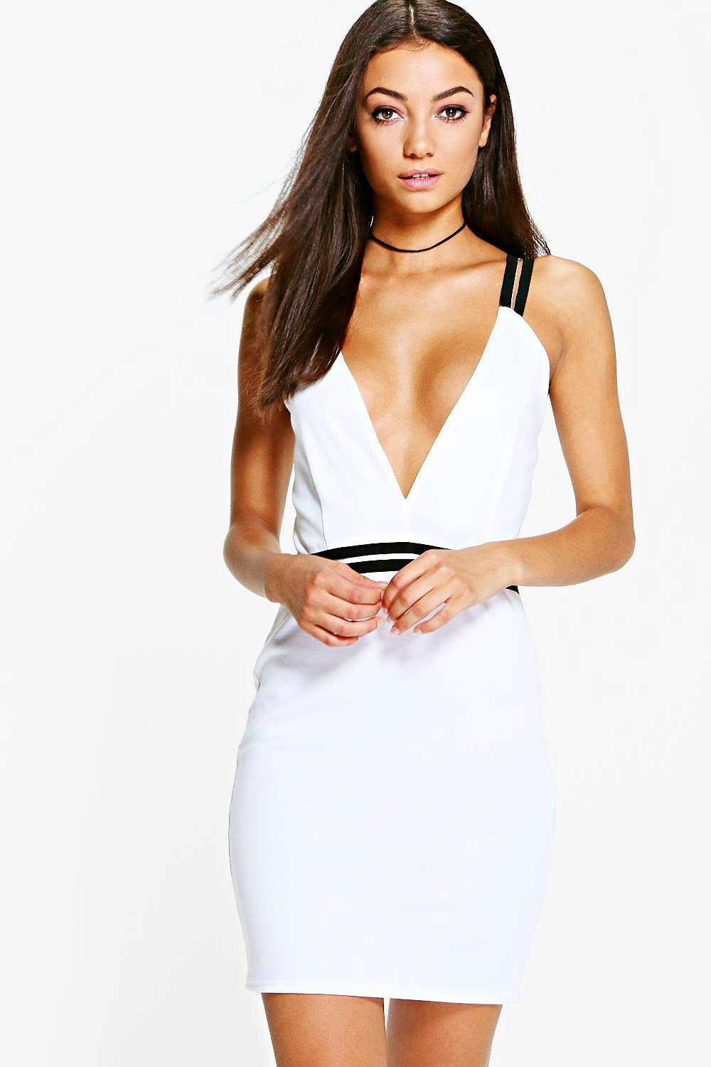 Tall Sasi Burnout Mesh Plunge Bodycon Dress
