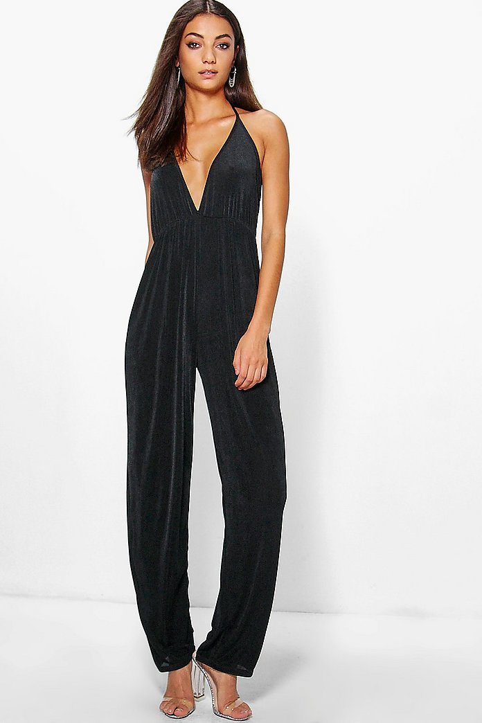 Tall Lilah Slinky Fabric Deep Plunge Jumpsuit