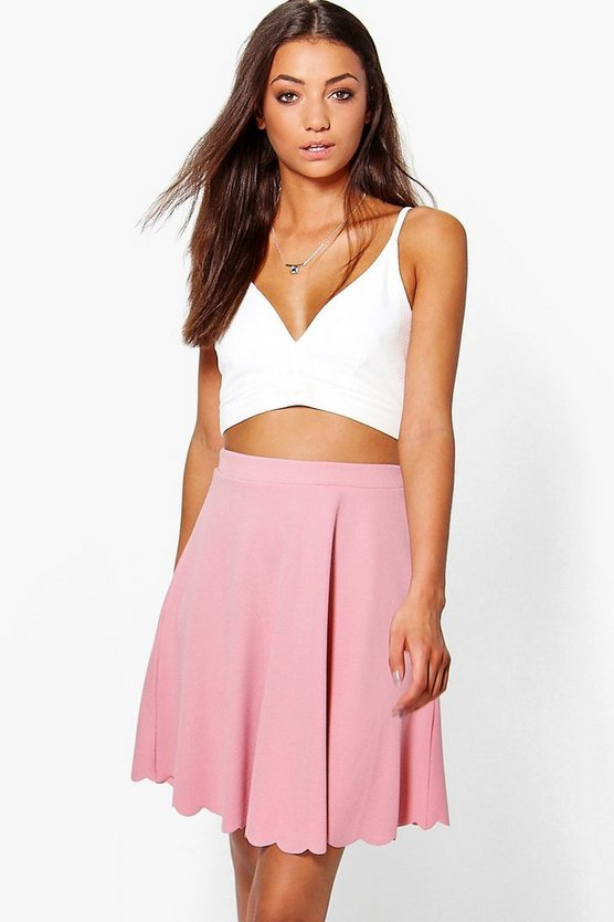 Tall Leya Scallop Hem Textured Mini Skirt