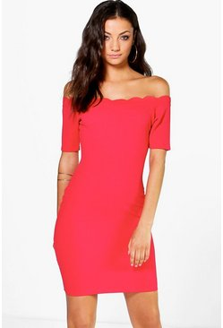 Tall Adria Scallop Off The Shoulder Textured Dress