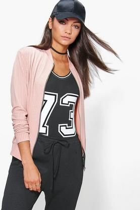 Tall Paige Ribbed Jersey Zip Bomber