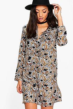 Tall Belle Paisley Print Shirt Dress