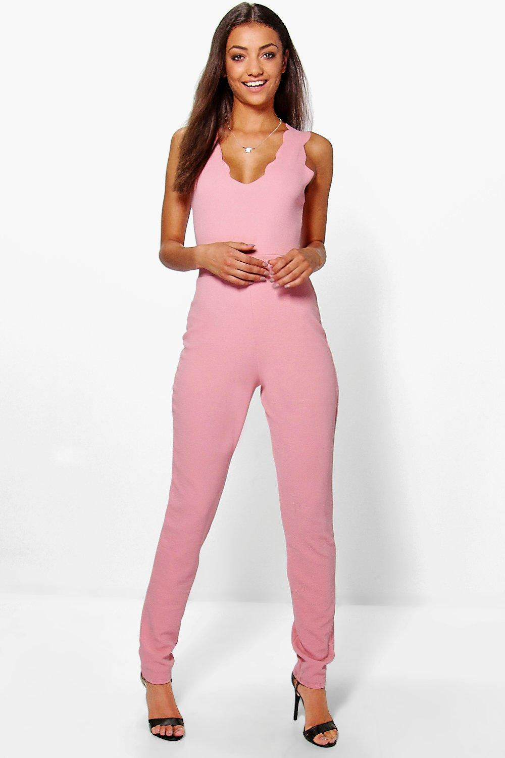 Tall Teagan Scallop Edge Plunge Jumpsuit
