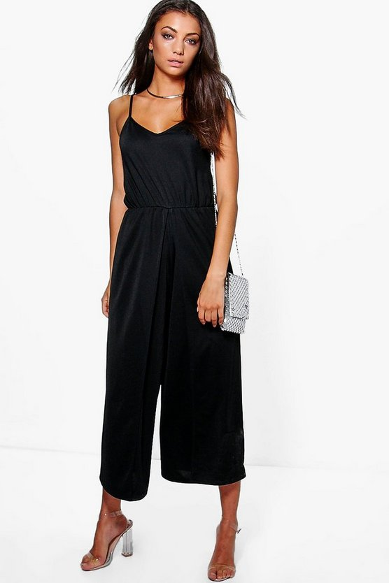 Tall Sadie Wrap Split Leg Strappy Culotte Jumpsuit