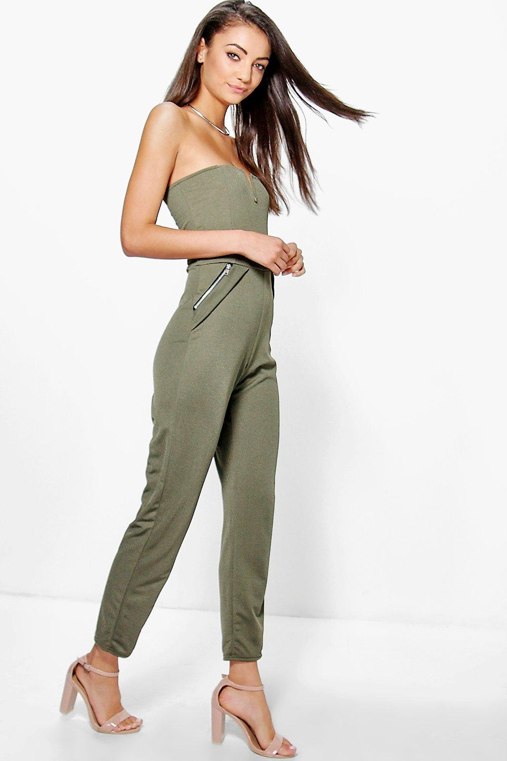Darcy Bandeau Zip Notch Neck Jumpsuit  khaki