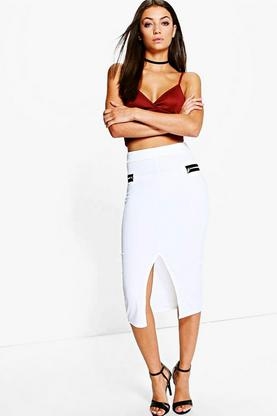 Tall Lucy Double Zip Texture Midi Skirt