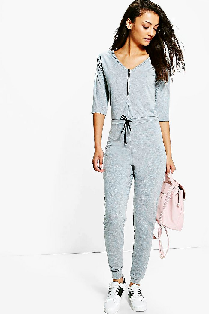 Tall Kitty Zip Front Drawcord Lounge Jumpsuit
