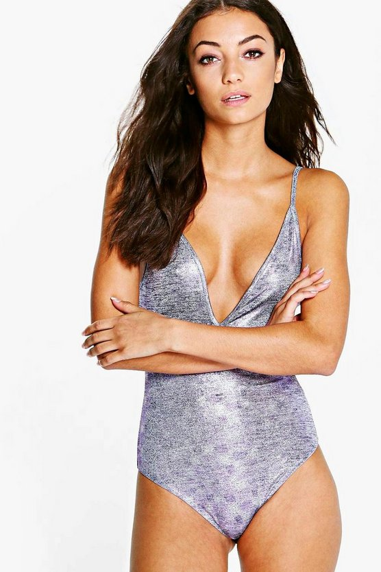 Tall Shelley Metallic Strappy Plunge Body