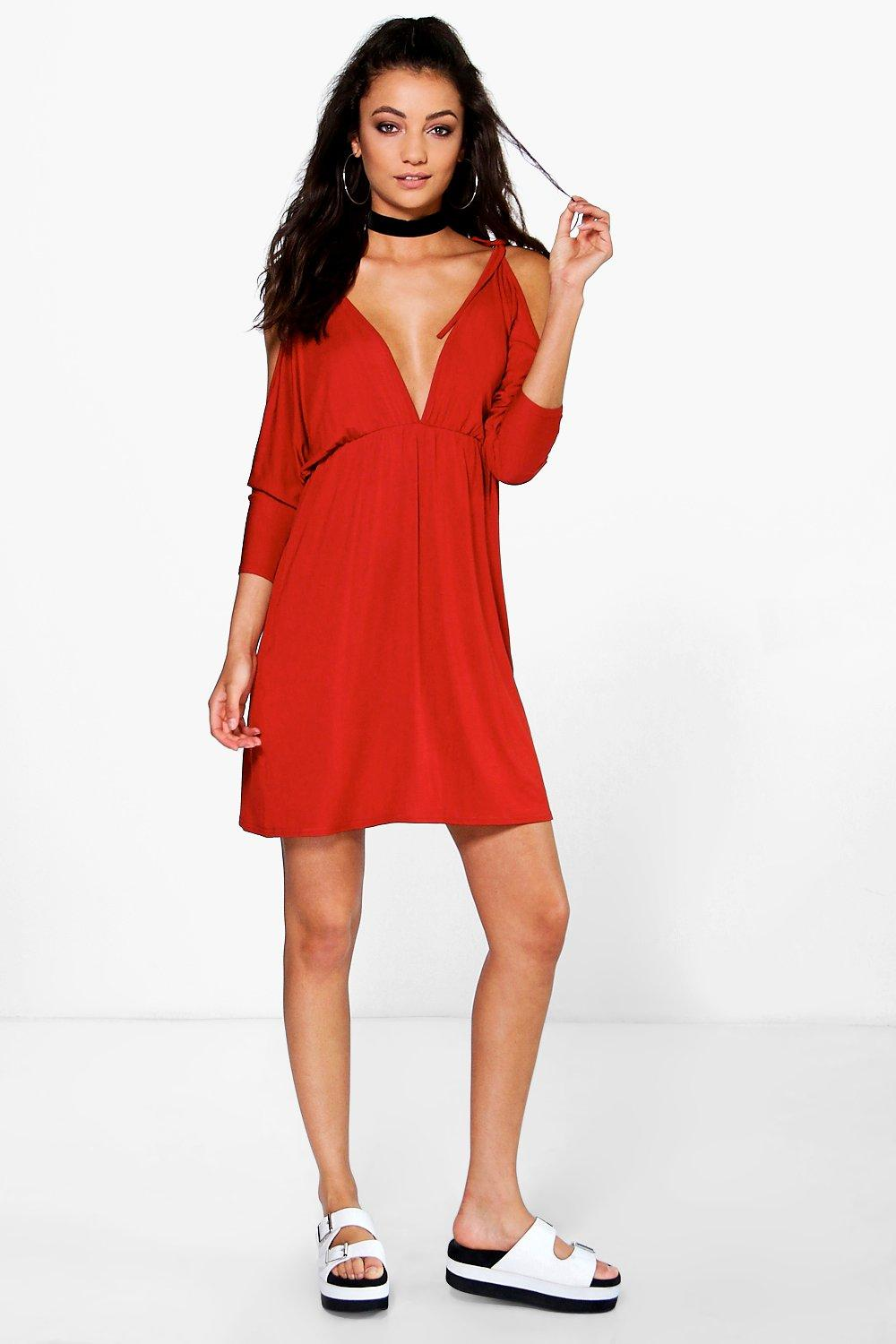 Tall Joanne Cold Tie Shoulder Swing Dress