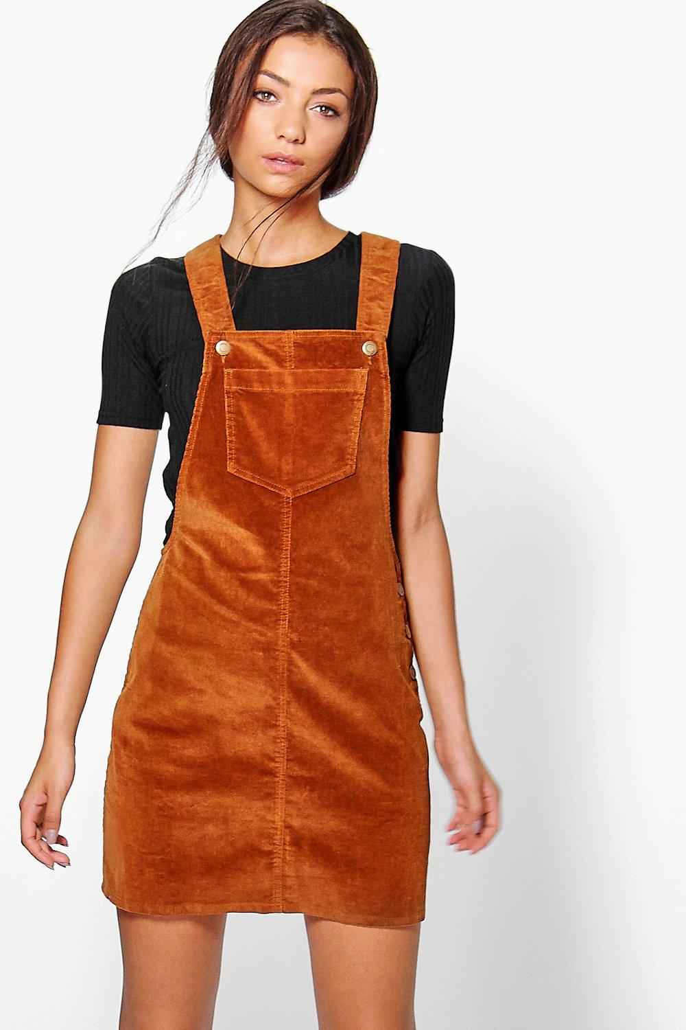 Lucie Cord Pocket Dungaree Dress  tan
