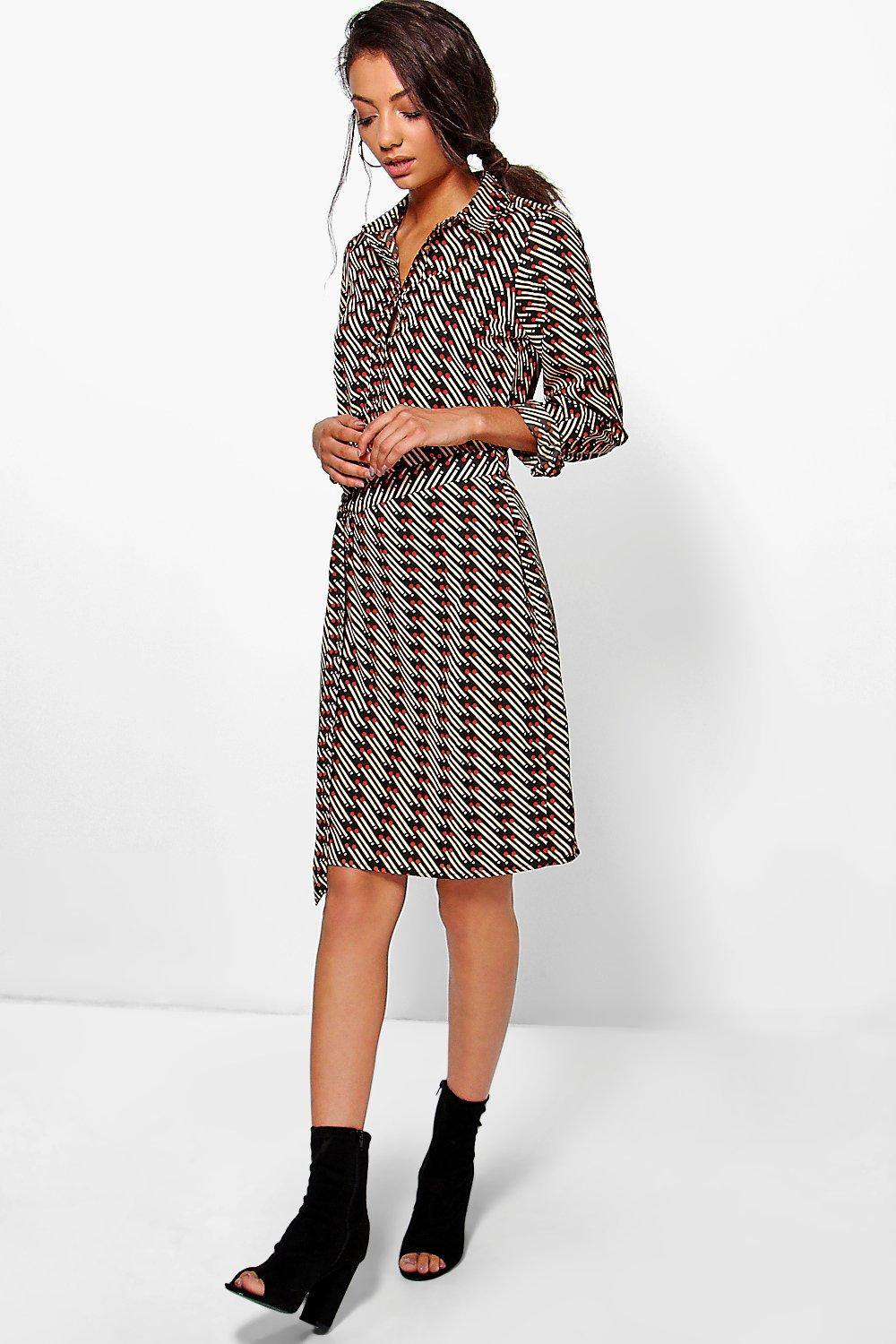 Stephanie Printed Woven Belted Shirt Dress  multi