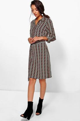 Tall Stephanie Printed Woven Belted Shirt Dress