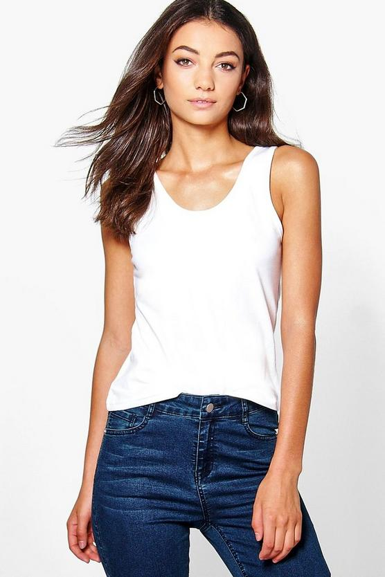 Tall sara thick strap basic vest top boohoo for Thick white shirt womens