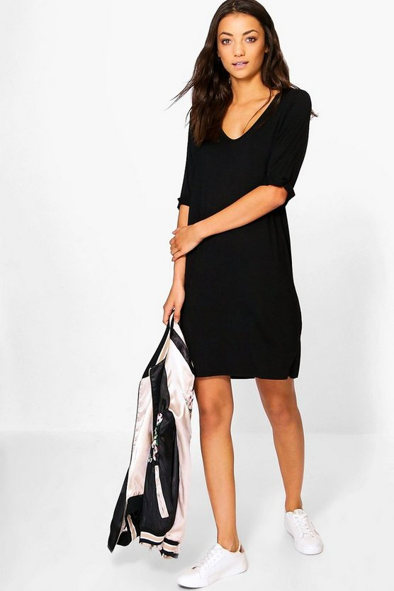Tall Leanne Turn Cuff Oversized T-Shirt Dress