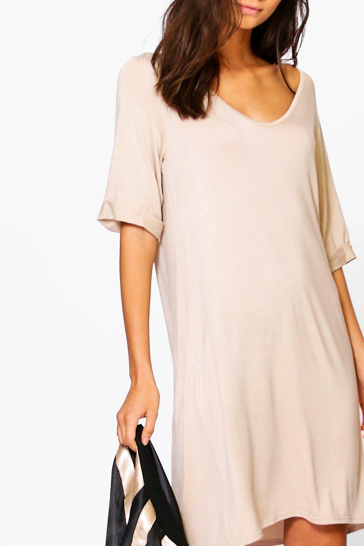 Boohoo womens tall leanne turn cuff oversized t shirt dress for Womens tall t shirts