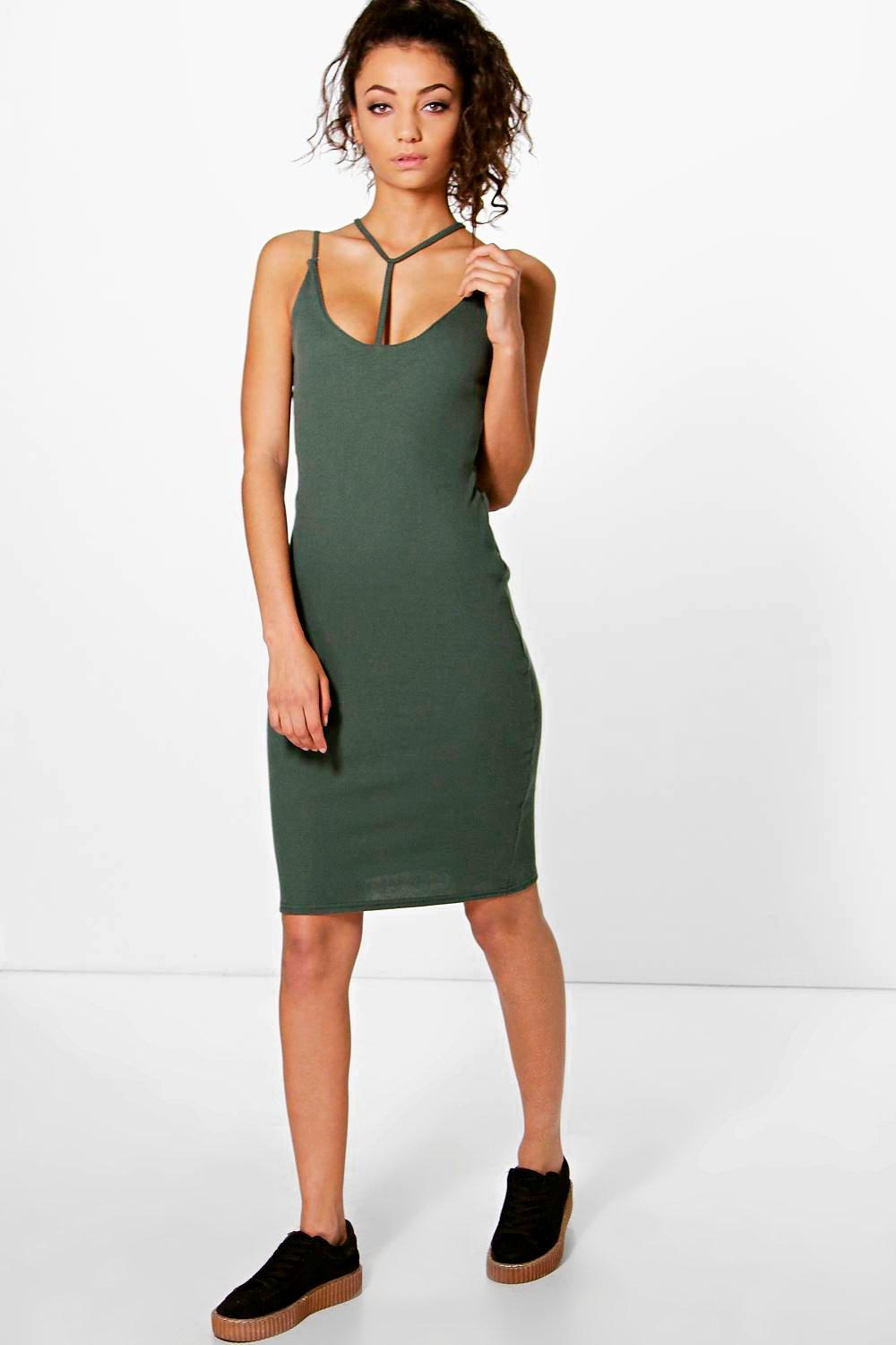 Tall Jess Ribbed Strappy Neck Dress