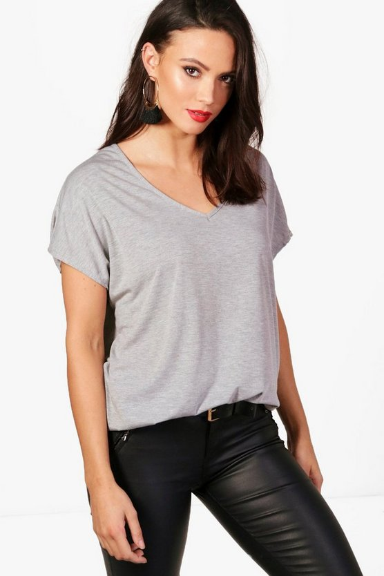Tall Jasmine Oversized V Neck Basic Tee