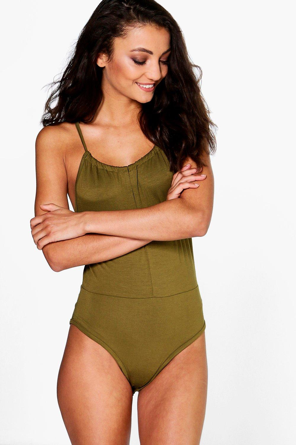 Carmel Rouched Neck Split Front Body olive