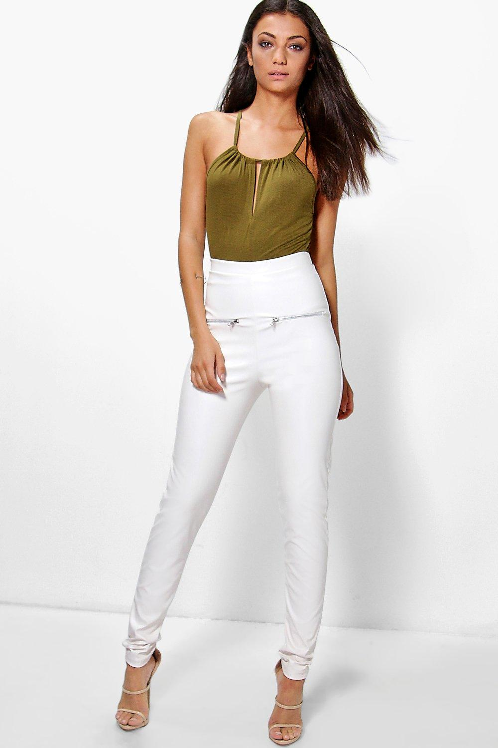 Daisy Pu Zip Detail Leggings cream