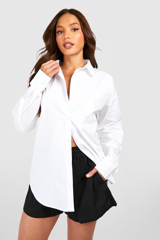 Womens Tall Oversized T-Shirt in Leinenoptik - Weiß - M, Weiß - Boohoo.com