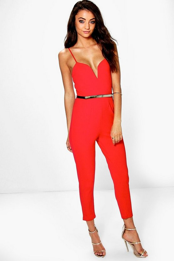 Tall Erika Plunge Belted Jumpsuit