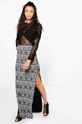 Tall Verity Elephant Print Split Side Maxi Skirt