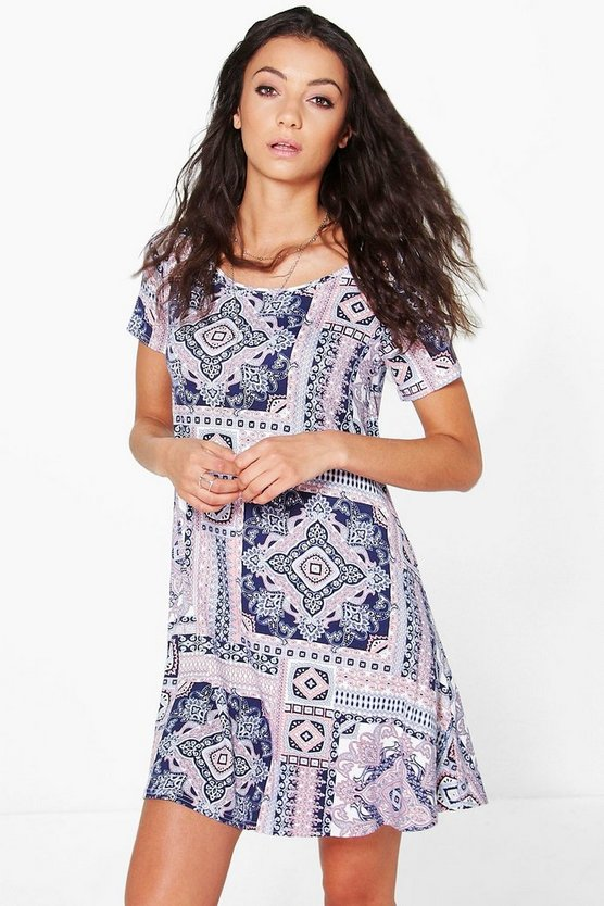 Tall Cleo Tile Print Swing Dress