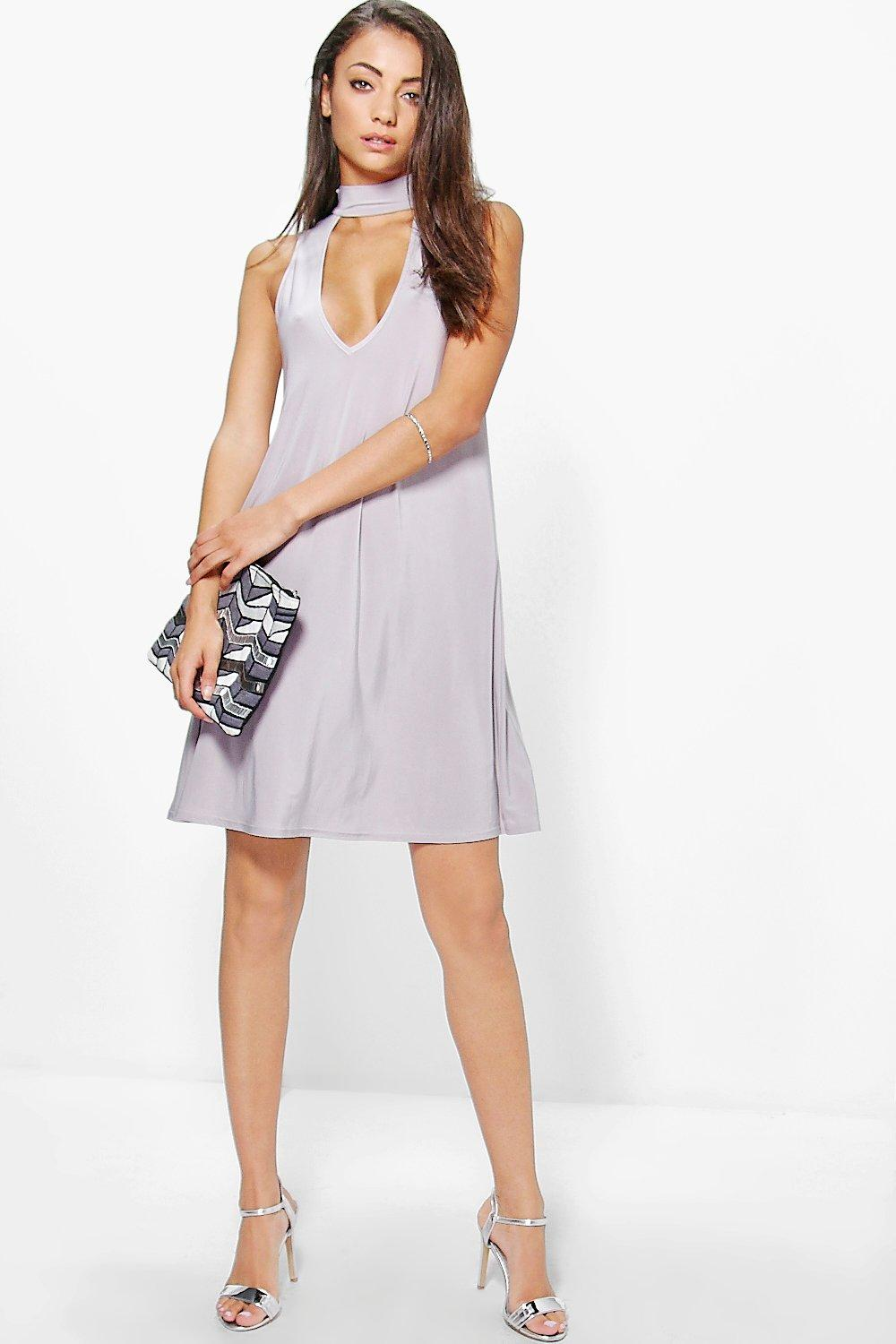 Tall Darcey Plunge Neck Strap Swing Dress