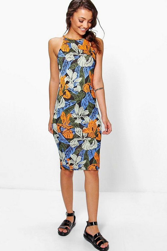 Tall Omeli Printed Bodycon Midi Dress