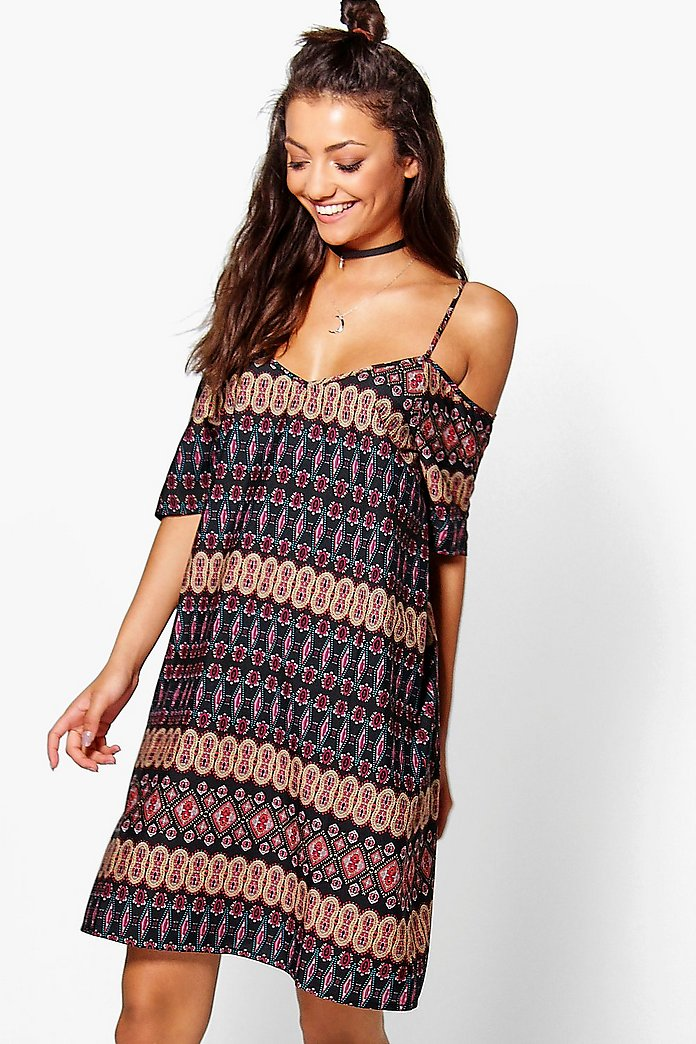 Tall Ilisia Dark Paisley Print Woven Dress
