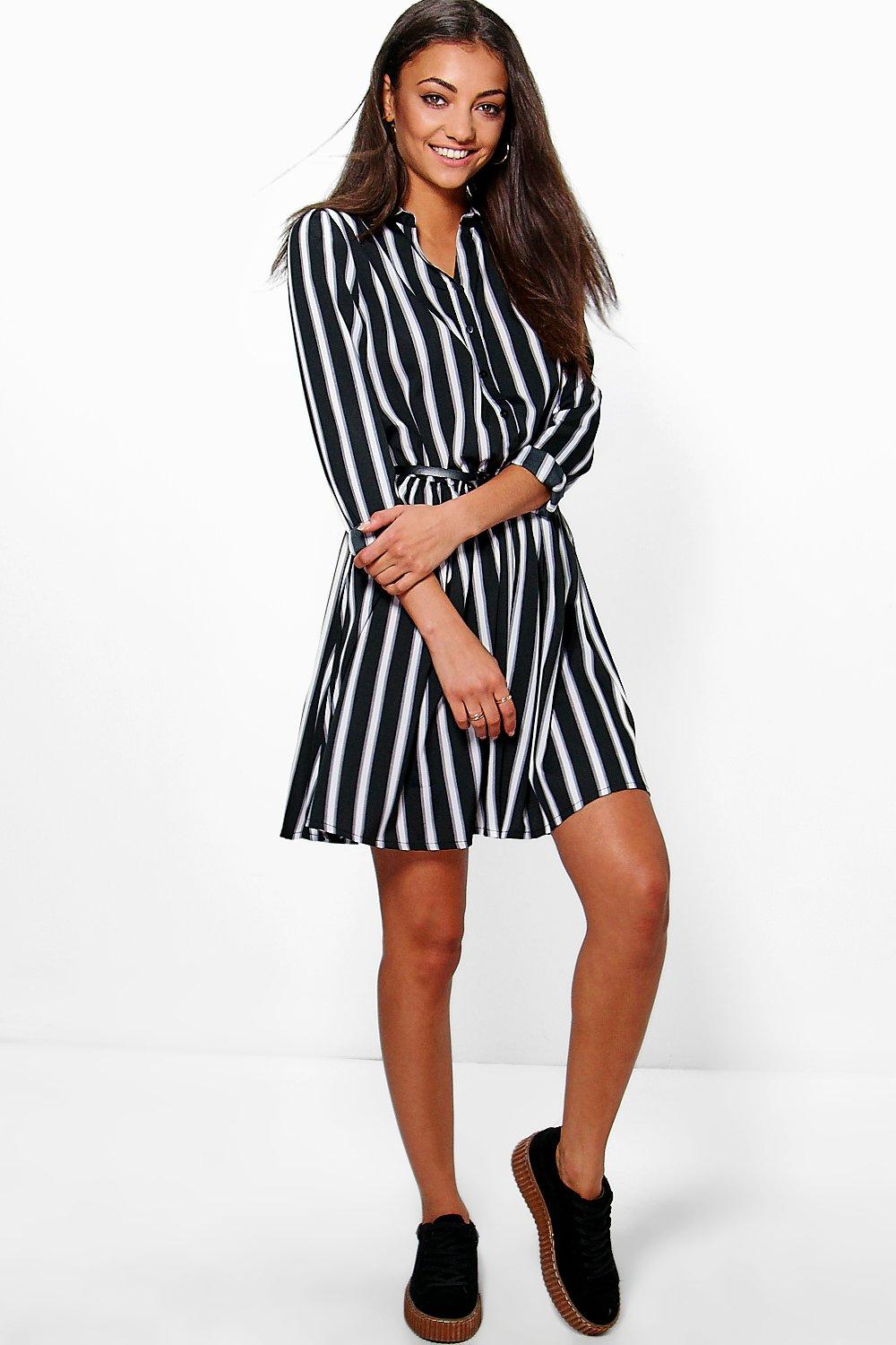 Tall Lisa Woven Stripe Belt Shirt Dress