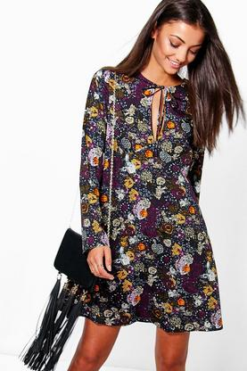 Tall Paloma Tie Neck Print Swing Woven Dress