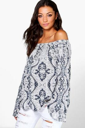 Tall Elise Tonal Print Woven Off The Shoulder Top