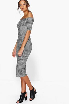 Tall Imi Rib Off The Shoulder Dress