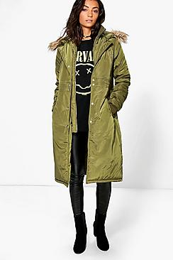 Tall Boutique Bella Longline Double Layerd Parka