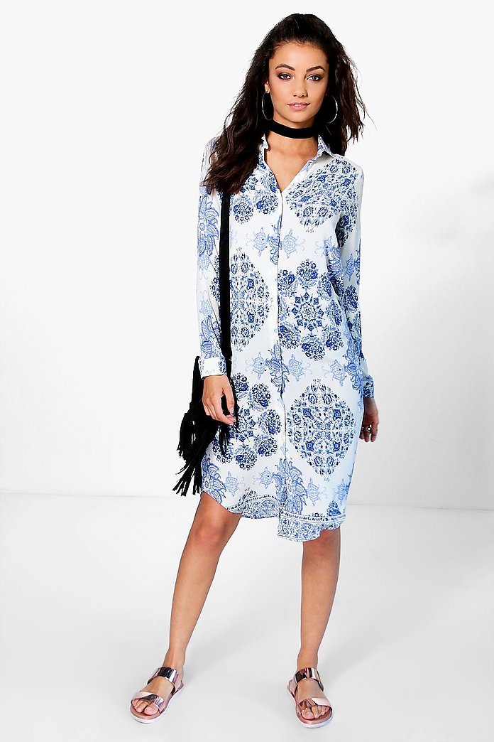 Tall Micha Paisley Print Woven Shirt Dress