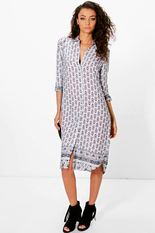 Ola Tonal Woven Print Shirt Dress - multi
