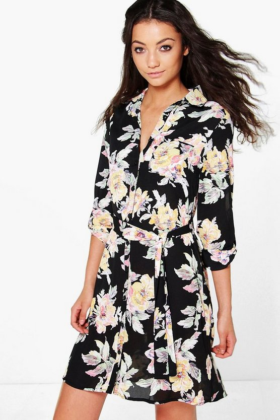 Tall Iona Floral Woven Shirt Dress