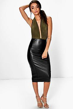 Tall Loren Leather Look Midi Skirt