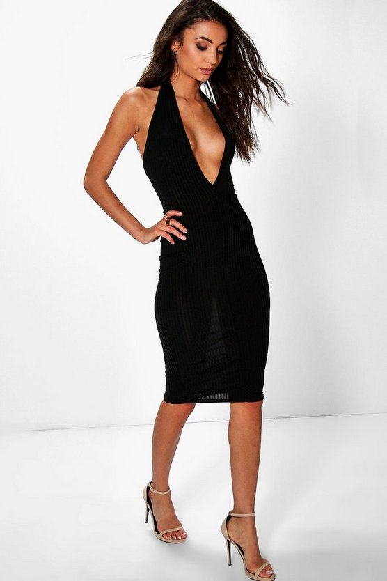 Tall Lara Rib Halter Plunge Midi Dress