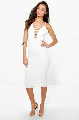 Tall Carly Plunge Caged Texture Midi Dress