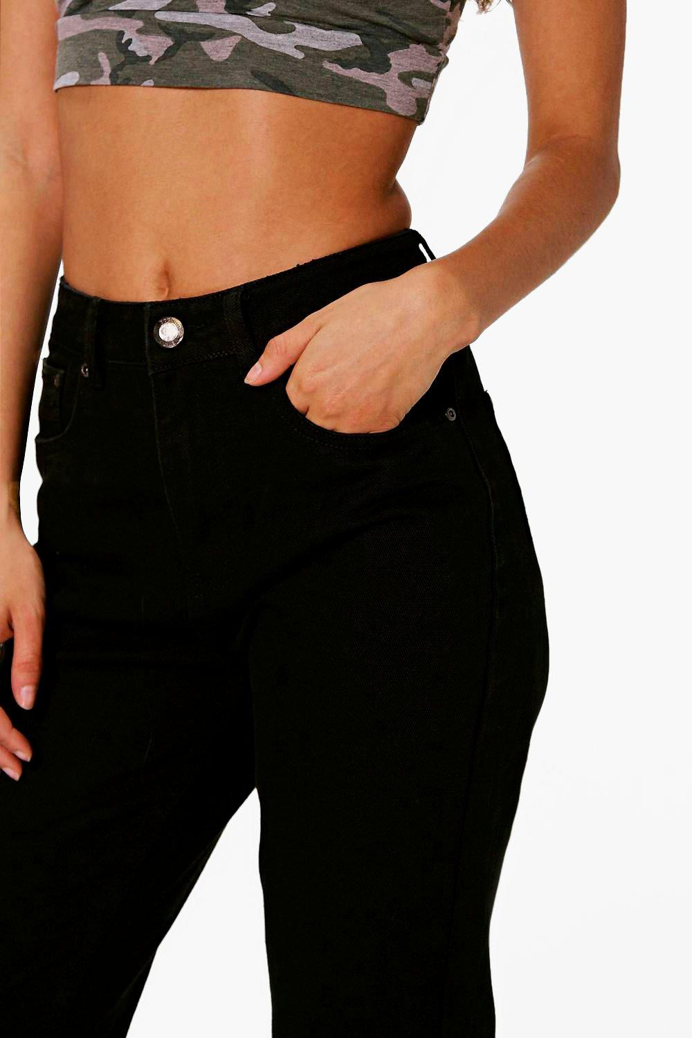 boohoo womens tall eva high waisted black boyfriend jeans ebay. Black Bedroom Furniture Sets. Home Design Ideas